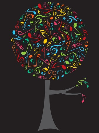 retro grunge color musical notes pop tree Vector