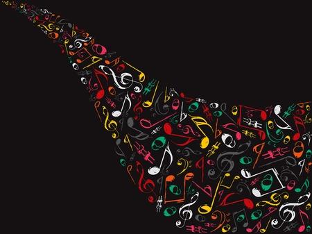 vague musicale de notes de r�tro couleur grunge