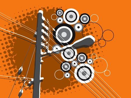 lamp post: retr� grunge lampada posta sul cerchio arancione Vettoriali