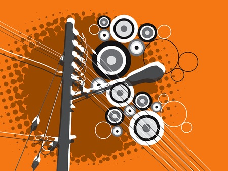 retro grunge circle lamp post on orange Stock Vector - 1805249