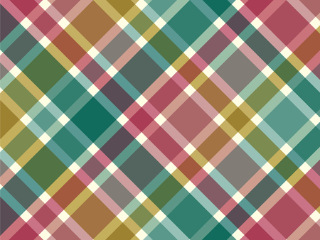 bias: vintage turquoise yellow pink diagonal plaid pattern Illustration