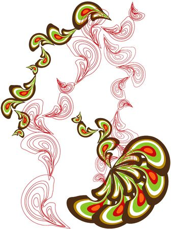 peacock paisley green brown cascade pattern Vector