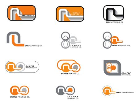 12 orange and grey logos Vector