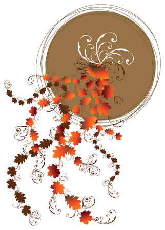 floral swirl autumn leaves and brown moon Vector