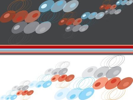 blue, red and grey abstract retro dots on grey and white Vector