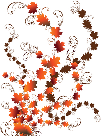 autumn leaves swirls Vector