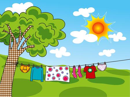 洋服: 夏用の服の行にぶら下がっています。