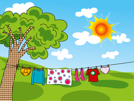 clothes cartoon: summer clothes hanging on a line Illustration