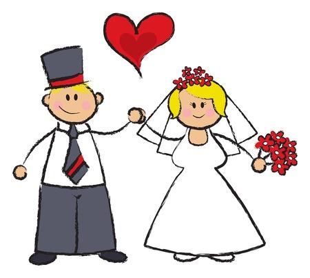 fair skin: UST CASADO! -- Ilustraci�n de dibujos animados de una boda en par justo tono de la piel