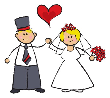 bridegroom: ust MARRIED! - cartoon illustration of a wedding couple in fair skin tone