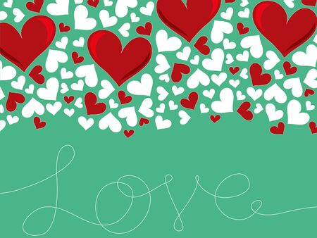 loopy: loopy love lines and red hearts on turquoise Illustration