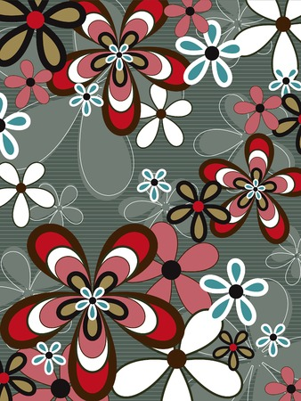 retro pink and brown flower power Vector