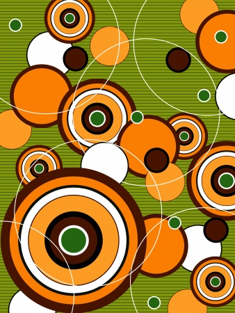 retro orange and green pop circles Vector