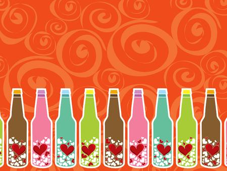 messages damour dans des bouteilles Illustration