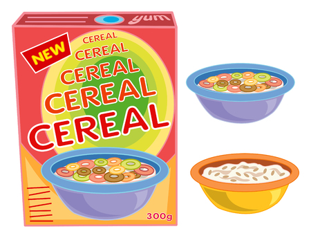 cereal bowl: breakfast cereal box, bowl and porridge