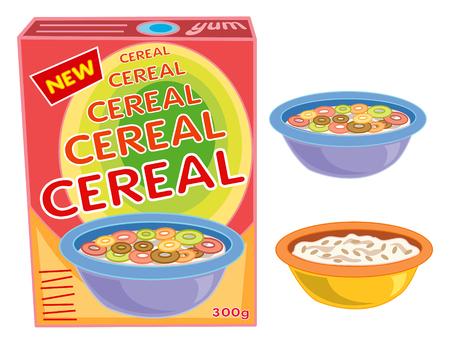 cereal: caja de cereales del desayuno, taz�n y avena