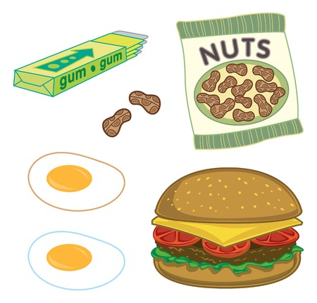 sunny side up eggs: burger, peanuts, chewing gum and sunny side up eggs