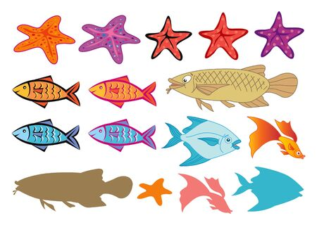 fishes and starfish Vector