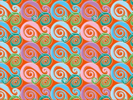 retro whirly pink and blue Vector