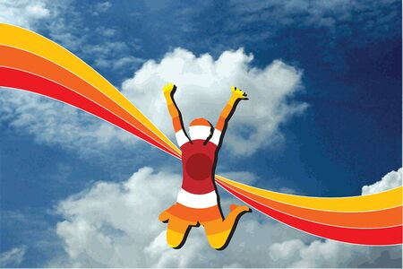 summer rainbow happy girl stripes on blue sky Vector