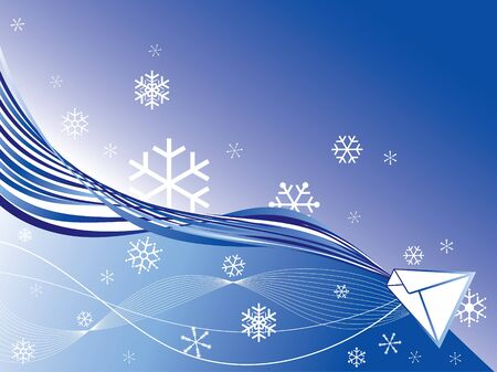 abstract winter blue snowflakes mail Vector