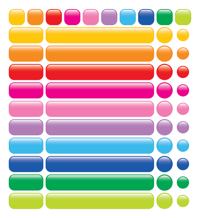 set of 10 glossy rainbow web blank buttons Vector