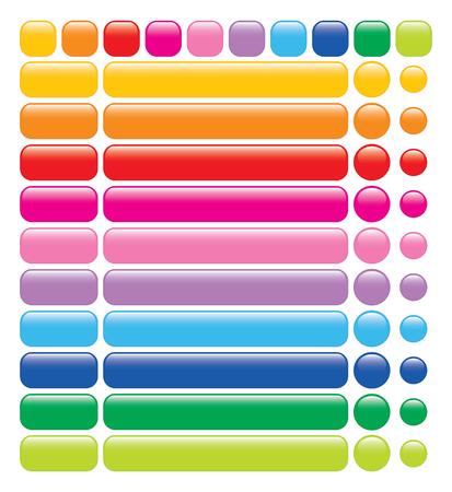 knop: set van 10 glossy Rainbow Web lege knoppen Stock Illustratie