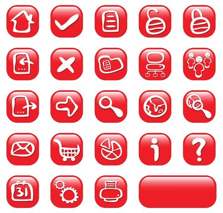 23 red glossy web buttons Vector