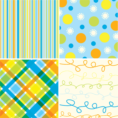 retro beach blue orange pattern combo (vector) - illustrated pattern Stock Vector - 1832475