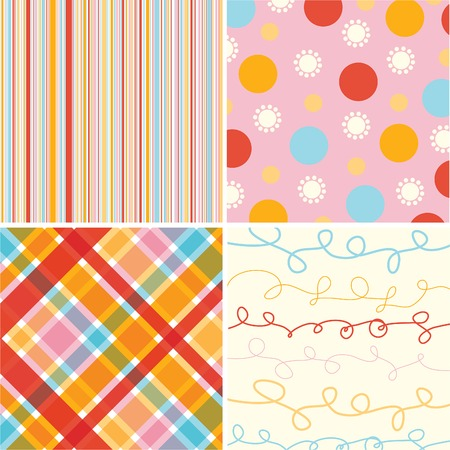 retro candy red pink pattern combo Stock Vector - 1815938