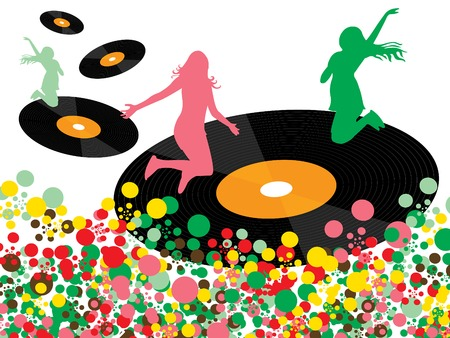 vinyl disco pop happy girls Vector