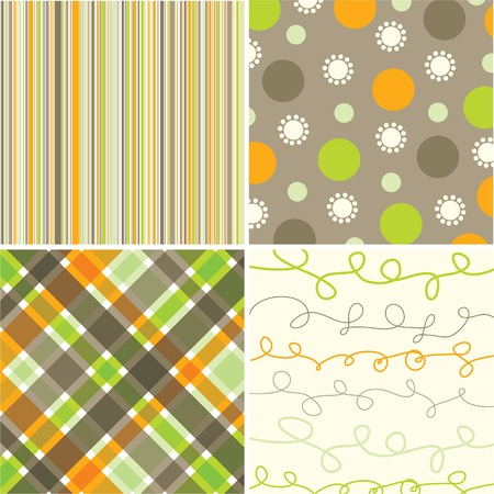 retro orange green brown pattern combo - illustrated pattern Vector
