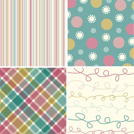 vintage pink turquoise pattern combo Stock Vector - 1828409