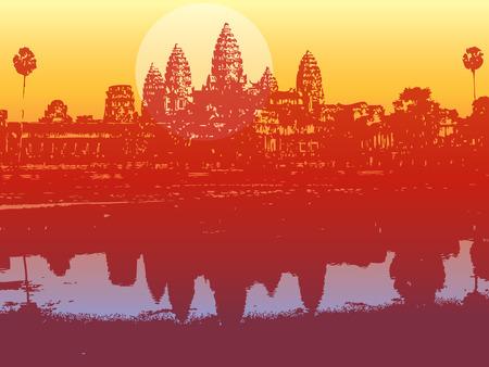 Angkor Wat dans le coucher du soleil - illustr� d�cor d'une ancienne ruine  Illustration