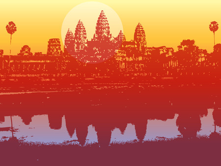ruin: angkor wat in sunset - illustrated scenery of an ancient ruin