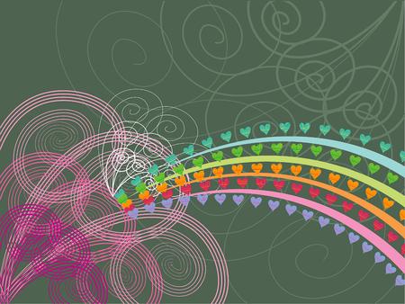 rainbow hearts pink swirls grunge - illustration Stock Vector - 1827242