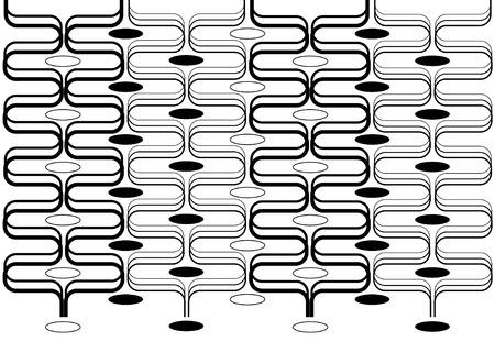 illustrated retro rectangles background black on white Vector
