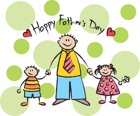 Happy Father's Day - light skin tone family Stock Vector - 1827295