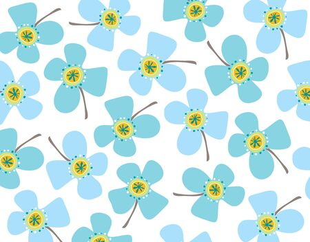 blue daisies - illustrated background pattern