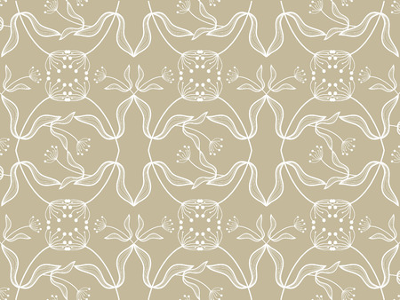 floral white pattern on taupe - illustrated art  background  pattern Vector