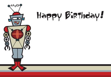 retro robot: retro robot on stripes