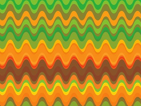 zag: retro citrus orange green waves pattern