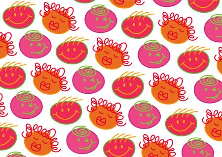 pink bubblegum heads pattern Vector