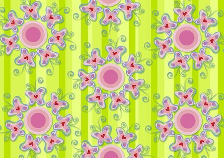 pink butterflies garden - illustrated pattern / background / art / graphics Stock Vector - 1829077