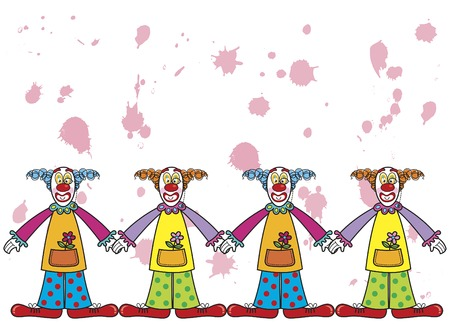Clowns with pink splats Stock Vector - 1828507
