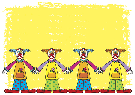 clowns on yellow background - illustrated cartoon background Vector