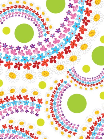 rainbow spring flowers and dots - illustrated background