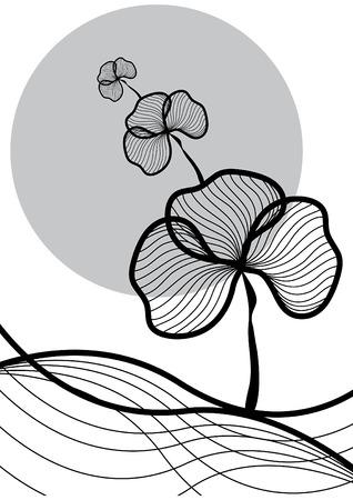 oriental plant at dawn - illustrated pattern  background  art  graphics Illustration