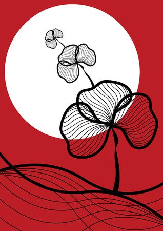 oriental de plantes � la tomb�e de la nuit - illustre mod�le  background  art  graphisme