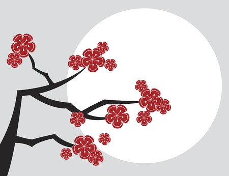 red sakuras and moon - illustrated pattern  background  art  graphics Vector